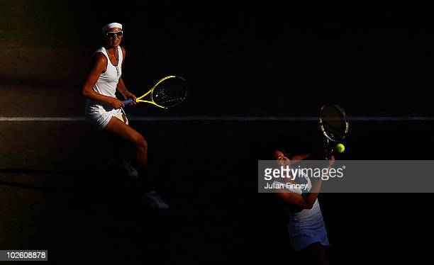 Vania King of the United States and Yaroslava Shvedova of Russia play in the women's doubles final against Elena Vesnina and Vera Zvonareva of Russia...