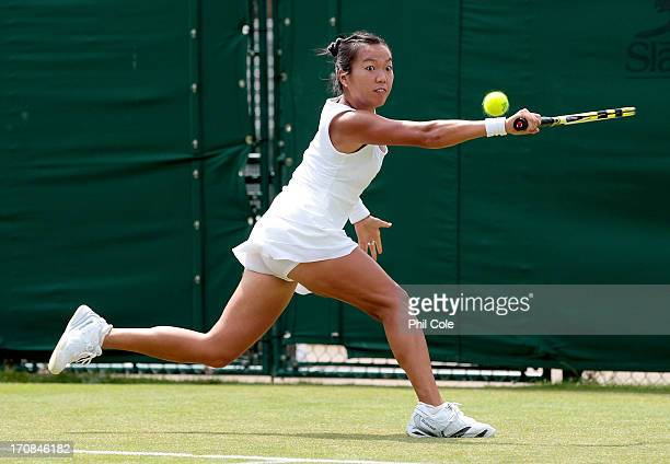 Vania King of the United States of America in action during a Wimbledon 2013 qualifying session at the Bank of England Ground in Roehampton on June...