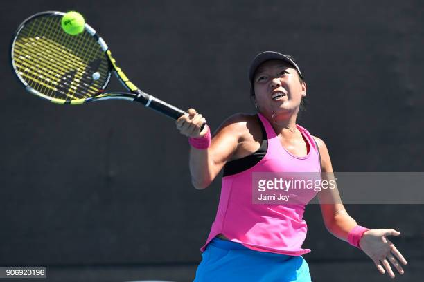 Vania King of the United States plays a forehand in her first round mixed doubles match with Franko Skugor of Croatia against Anastasia Rodionova of...