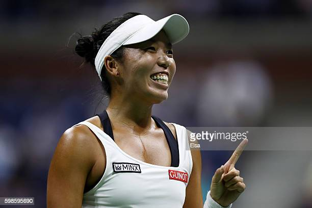 Vania King of the United States reacts against Serena Williams of the United States during her second round Women's Singles match on Day Four of the...