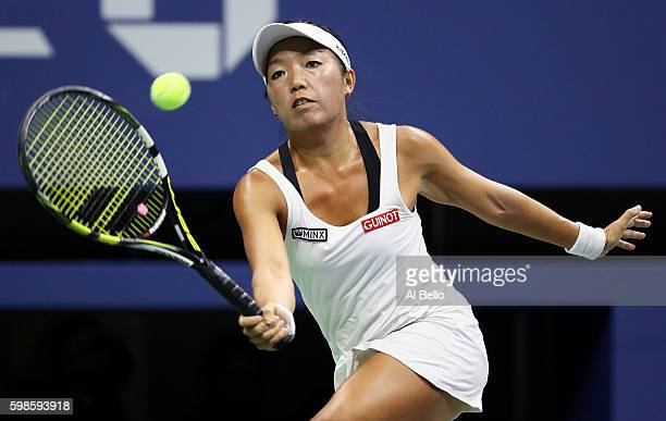 Vania King of the United States returns a shot to Serena Williams of the United States during her second round Women's Singles match on Day Four of...