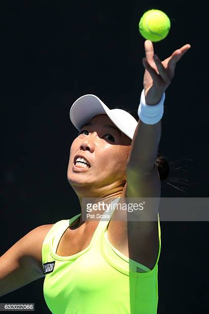 Vania King of the United States serves in her first round doubles match against Qiang Wang and Varatchaya Wongteanchai on day four of the 2017...