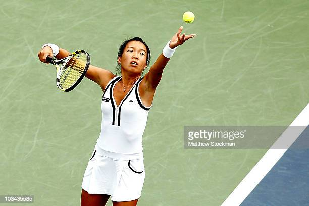 Vania King of the United States serves to Agnieszka Radwanska of Poland during the Rogers Cup at Stade Uniprix on August 18, 2010 in Montreal, Canada.