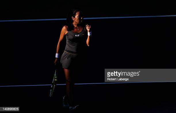 Vania King of the USA celebrates a winning point against Sara Errani of Italy during the first round of the BNP Paribas Open at the Indian Wells...