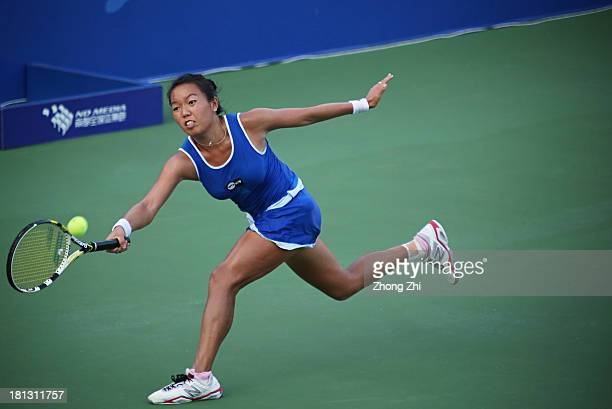 Vania King of the USA in action during in her singles match against Jie Zheng of China on Day five of the WTA Guangzhou Open on September 20 2013 in...