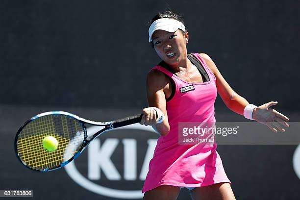 Vania King of the USA plays a forehand during her first round match against Natalia Vikhlyantseva of Russia on day one of the 2017 Australian Open at...
