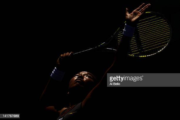 Vania King of the USA serves to Ana Ivanovic of Serbia during Day 5 at Crandon Park Tennis Center at the Sony Ericsson Open on March 23 2012 in Key...