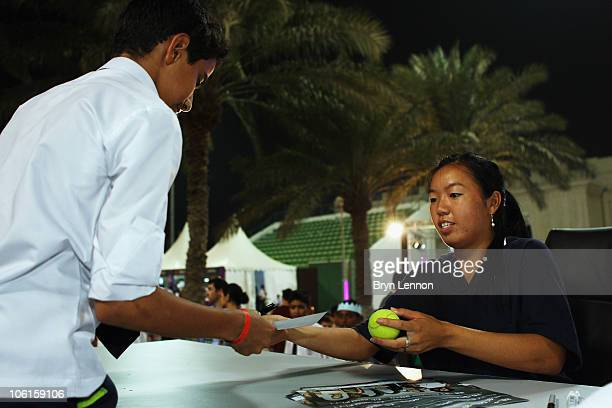 Vania King of The USA signs autographs during day two of the WTA Championships at the Khalifa Tennis Complex on October 27, 2010 in Doha, Qatar.