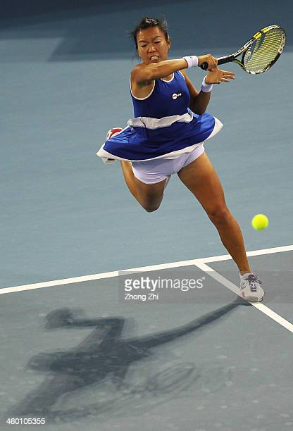 Vania King of United States returns a shot during her match against Barbora Zahlavova Strycova of Czech on day six of the WTA Shenzhen Open at...