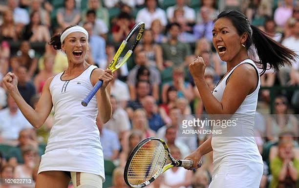 Vania King of US and Yaroslava Shvedova of Kazakhstan celebrate winning the first set against Elena Vesnina of Russia and compatriot Vera Zvonareva...