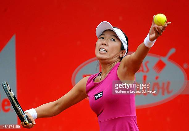 Vania King of US serves to Mariana Duque of Colombia during their WTA Bogota Open quaterfinal match at El Rancho Club in Bogota on April 11 2014 King...