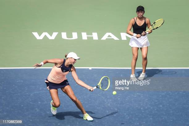 Vania king of USA and Oksana Kalashnikov of Georgia reacts during the match against Nicoloe Melichar of USA and her partner Kveta Peschke of Czech on...
