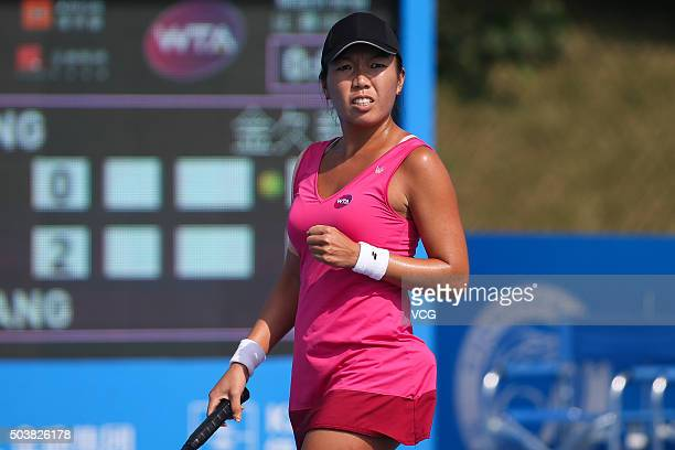 Vania King of USA celebrates a point against Wang Qiang of China in Women's second round match during Day four of 2016 WTA Shenzhen Open at Longgang...