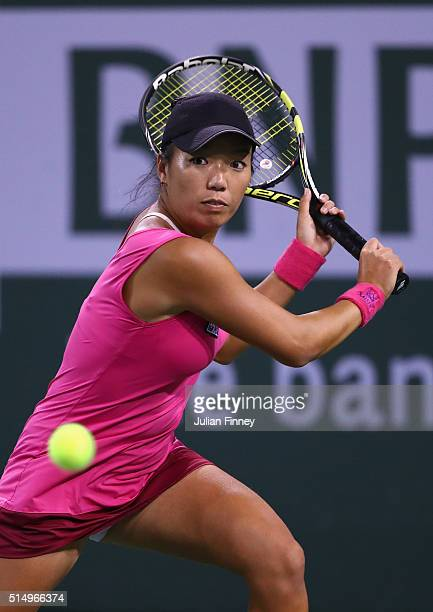 Vania King of USA in action in her match against Simona Halep of Romania during day five of the BNP Paribas Open at Indian Wells Tennis Garden on...