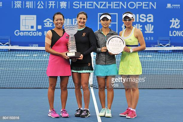 Vania King of USA Monica Niculescu of Romania Xu Yifan of China and Zheng Saisai of China pose with their trophies after Women's doubles final match...