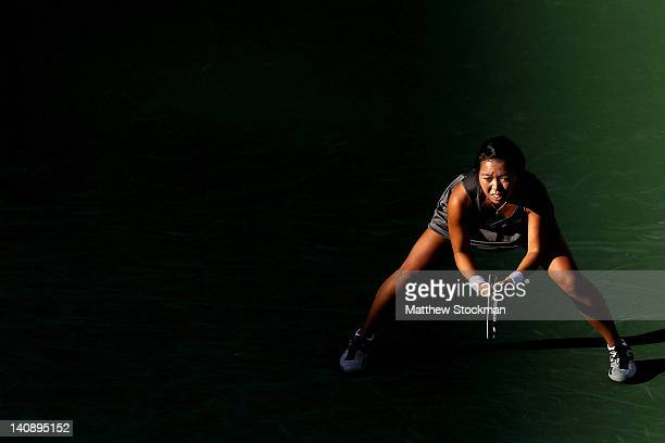 Vania King plays Sara Errani of Italy during the BNP Paribas Open at the Indian Wells Tennis Garden on March 7, 2012 in Indian Wells, California.