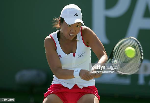 Vania King returns to Ana Ivanovic of Serbia during the Pacific Life Open on March 10 2007 at the Indian Wells Tennis Garden in Indian Wells...
