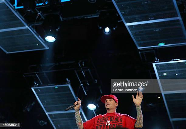 Vanilla Ice performs during the Sprite Slam Dunk Contest 2014 as part of the 2014 NBA AllStar Weekend at the Smoothie King Center on February 15 2014...