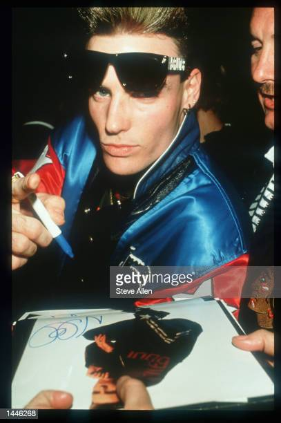 Vanilla Ice signs an autograph at the Grammy Awards February 20, 1991 in New York City. The recording industry''s most prestigious award, the Grammy...
