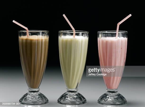 Vanilla milkshake, strawberry milkshake and chocolate milkshake