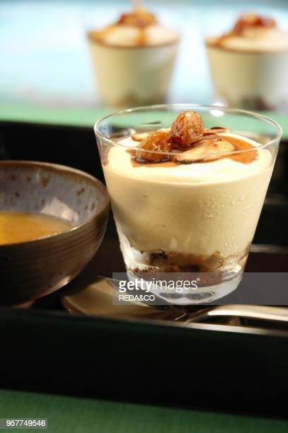 Vanilla Mousse with Almonds Raisins and Amaretto Crumbled Italy Europe
