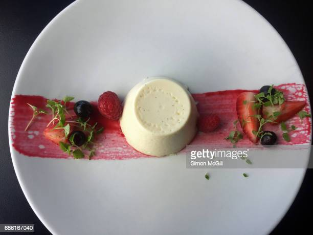 vanilla panna cotta with fresh berries - coulis stock pictures, royalty-free photos & images