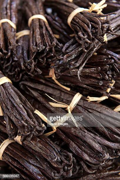 Vanilla pods for sale in the village of St Paul on the French island of Reunion in the Indian Ocean