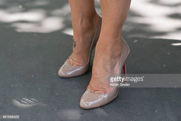 Vanina Sebaoum wearing Luis Vuitton shoes on day 1 of Paris Collections Men on June 25 2014 in Paris France