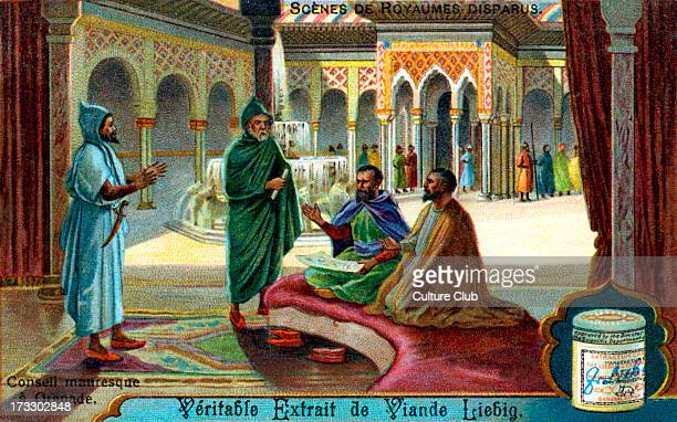 Vanished Civilizations: Moorish council in Granada. . Illustration on Liebig collectible card . 1913.