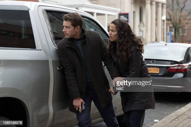 "Vanishing Point"" Episode 112 -- Pictured: Josh Dallas as Ben Stone, Athena Karkanis as Grace Stone --"