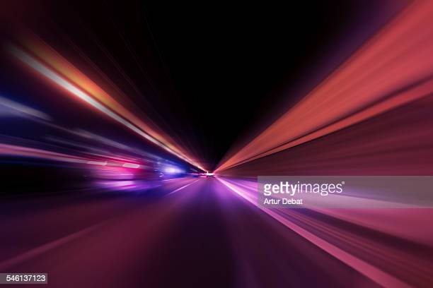 Vanishing point in tunnel at night with speed