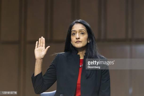 Vanita Gupta, associate U.S. Attorney general nominee for U.S. President Joe Biden, is sworn in during a Senate Judiciary Committee confirmation...