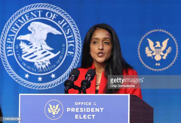 Vanita Gupta delivers remarks after being nominated to be U.S. Associate attorney general by President-elect Joe Biden at The Queen theater January...