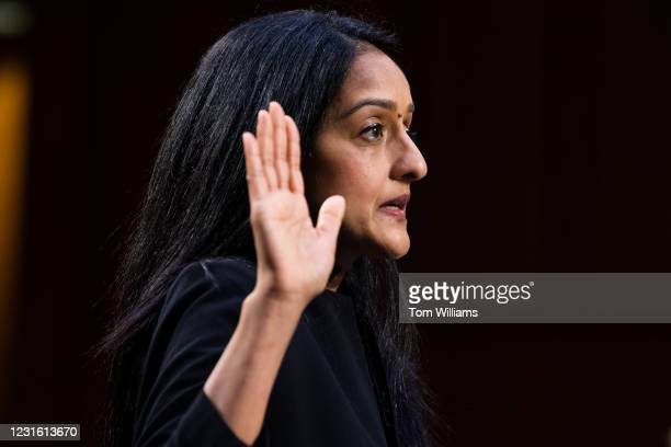Vanita Gupta, nominee for associate attorney general, is sworn in to her Senate Judiciary Committee confirmation hearing in Hart Building on Tuesday,...