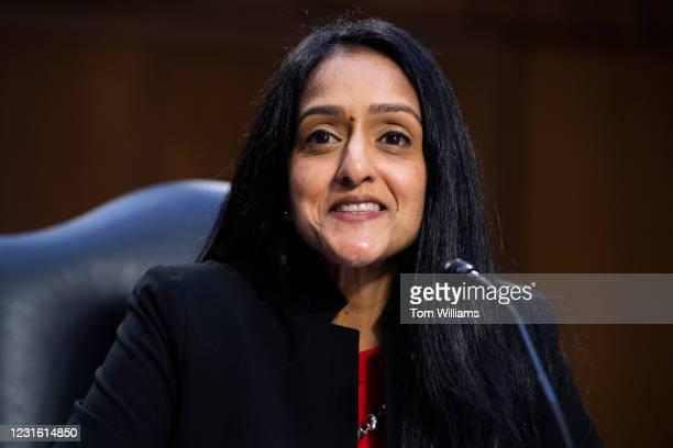 Vanita Gupta, nominee for associate attorney general, testifies during her Senate Judiciary Committee confirmation hearing in Hart Building on...