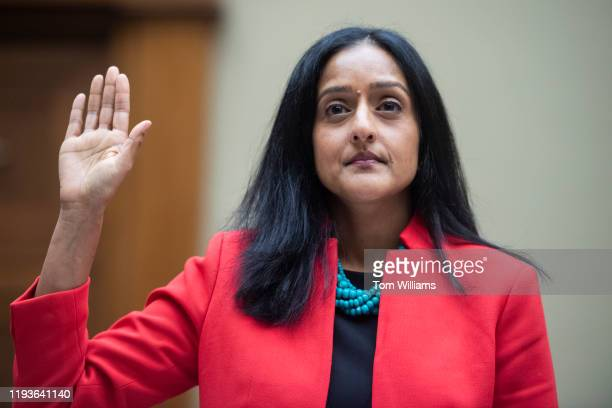Vanita Gupta, president and CEO of the Leadership Conference on Civil and Human Rights, is sworn in to the House Oversight and Reform Committee...