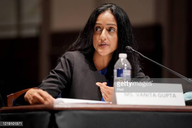 Vanita Gupta, president and CEO of the Leadership Conference on Civil and Human Rights, testifies at a House Judiciary Committee hearing on police...