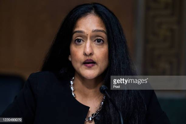 Vanita Gupta, president and CEO of The Leadership Conference on Civil & Human Rights, testifies during a Senate Judiciary Committee hearing in the...