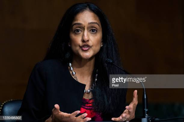 Vanita Gupta, president and CEO of The Leadership Conference on Civil & Human Rights, testifies during a Judiciary Committee hearing in the Dirksen...