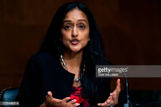 Vanita Gupta, president and CEO of The Leadership Conference on Civil & Human Rights, testifies during the Senate Judiciary Committee hearing titled...