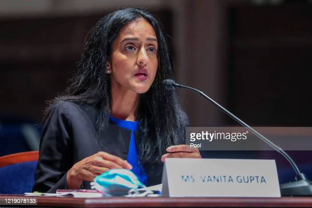 Vanita Gupta, President of the Leadership Conference on Civil and Human Rights, speaks during the House Judiciary Committee hearing on Policing...