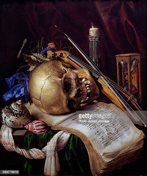 Vanitas Still Life with a skull music sheet musical instruments shells and hourglass Painting by Simon Renard de SaintAndre 1650 052 x 044 m...