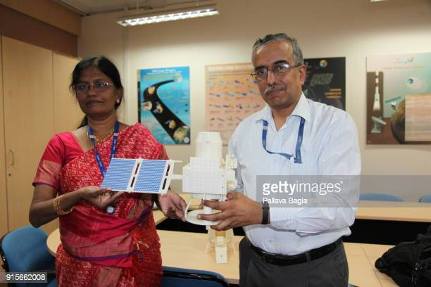 Vanitha the head of the Chnadrayaan2 mission and Mr Gopalan Nagesh incharge of all planetary satellites at ISRO holding a 3D printed replica of the...