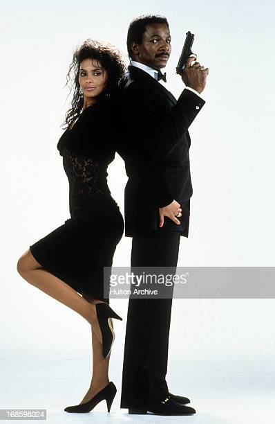 Vanity and Carl Weathers publicity portrait for the film 'Action Jackson' 1988