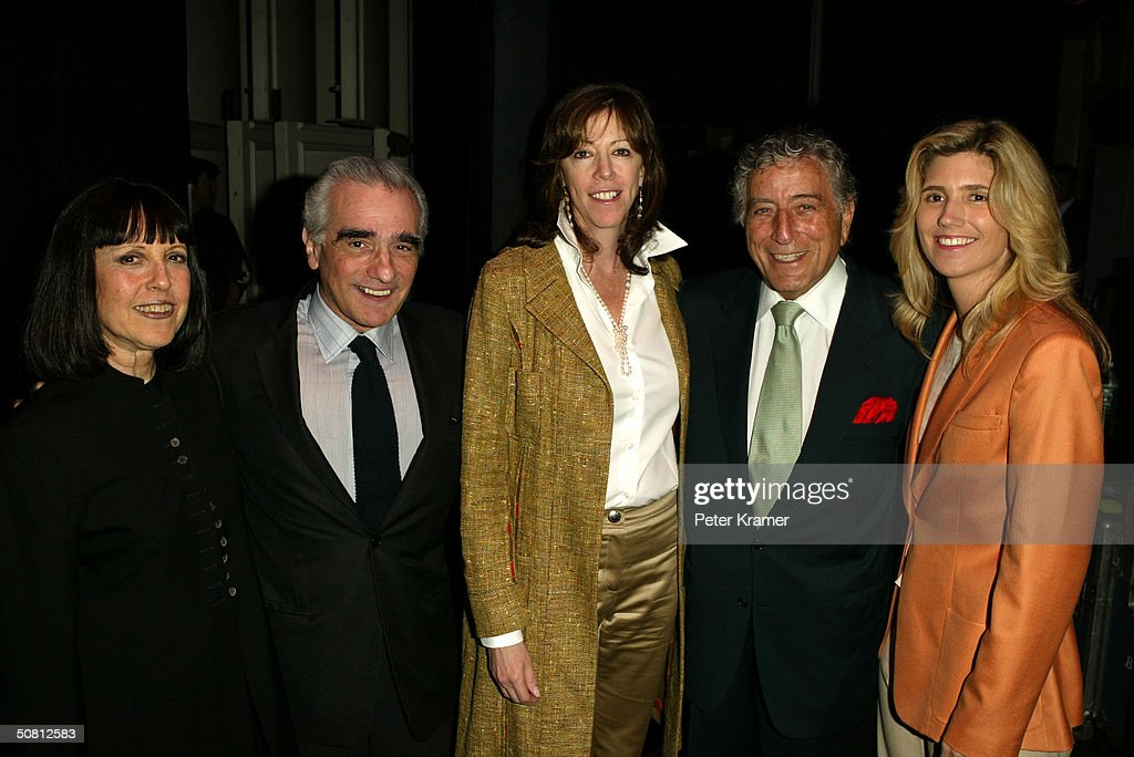 Vanity Fair Contributing Editor Lisa Robinson, director Martin Scorsese, TFF co-founder Jane Rosenthal, singer Tony Bennett and wife pose at the Scorsese And Music Panel during the 2004 Tribeca Film Festival May 7, 2004 in New York City.