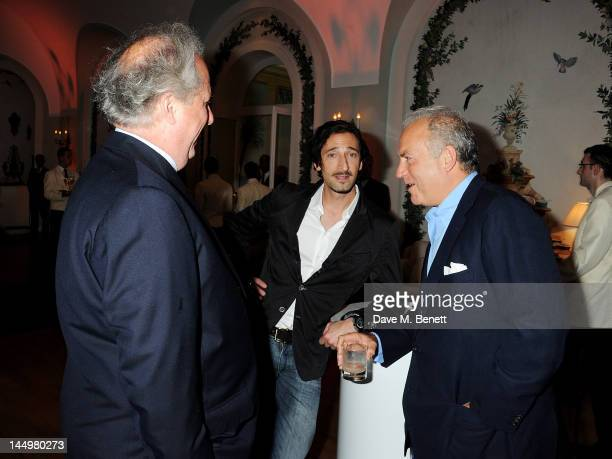 Vanity Fair editor Graydon Carter actor Adrien Brody and Charles Finch attend the IWC and Finch's Quarterly Review Annual Filmmakers Dinner at Hotel...