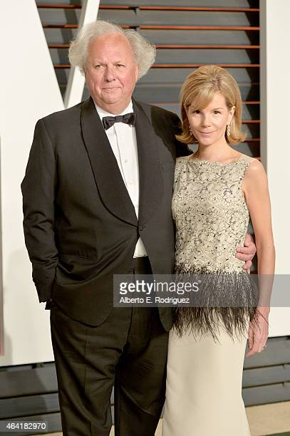Vanity Fair Editor Graydon Carter and Anna Scott attend the 2015 Vanity Fair Oscar Party hosted by Graydon Carter at Wallis Annenberg Center for the...