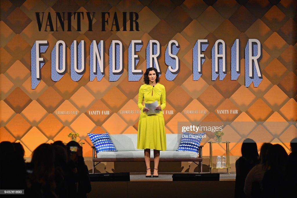 Vanity Fair Editor Radhika Jones speaks onstage during Vanity Fair's Founders Fair at Spring Studios on April 12, 2018 in New York City.