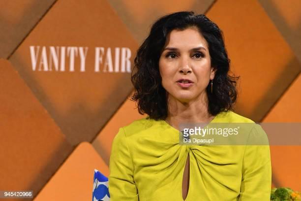Vanity Fair Editor Radhika Jones speaks onstage during Vanity Fair's Founders Fair at Spring Studios on April 12 2018 in New York City