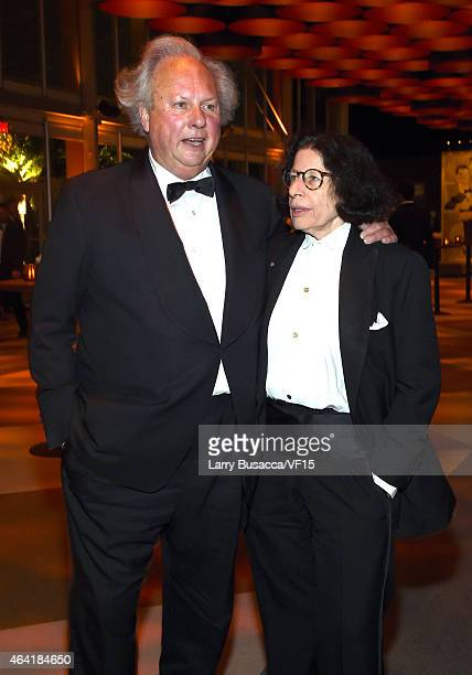 Vanity Fair EditorinChief Graydon Carter and writer Fran Lebowitz attend the 2015 Vanity Fair Oscar Party Viewing Dinner hosted by Graydon Carter at...